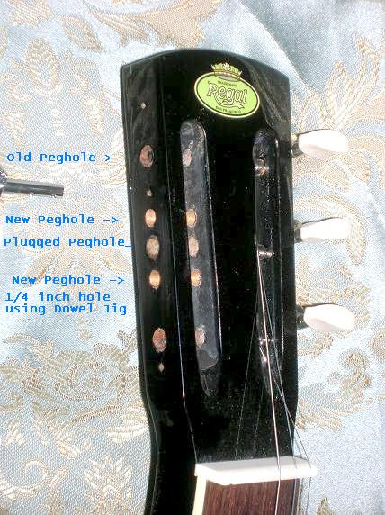 Slotted Regal® headstock showing position of newly drilled pegholes
